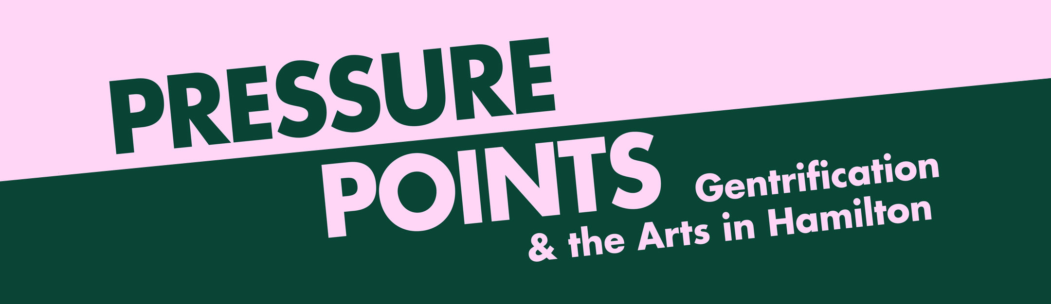 """A light pink and forest green banner graphic, with serif font that says """"Pressure Points"""" in capital letters. There is a subtitle that says: """"Gentrification & The Arts in Hamilton."""""""