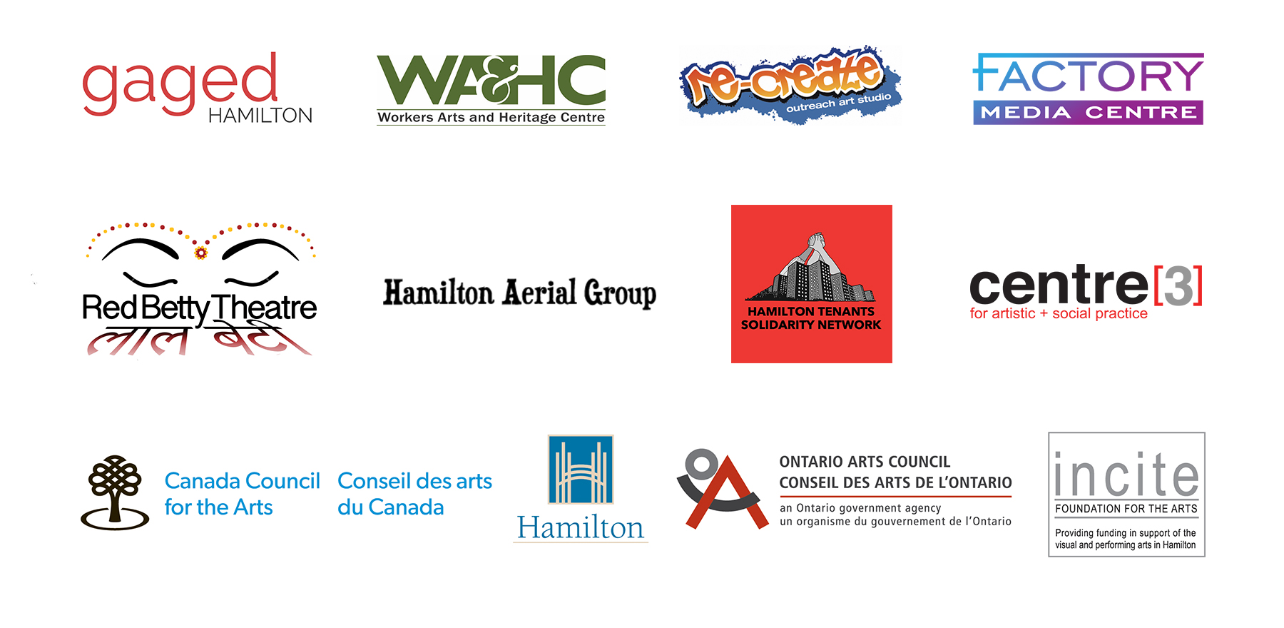 An Image of the various logos of Pressure Points' funding and programming partners: Gaged Hamilton, Workers Arts and Heritage Centre, Re-Create Outreach Art Studio, Factory Media Centre, Red Betty Theatre, Hamilton Aerial Group, Hamilton Tenants Solidarity Network, Centre[3] for artistic + social practice, Canada Council for the Arts, The City of Hamilton, Ontario Arts Council and Incite Foundation for the Arts.