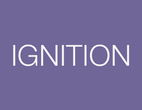 A purple graphic with white all-capitalized text reading Ignition
