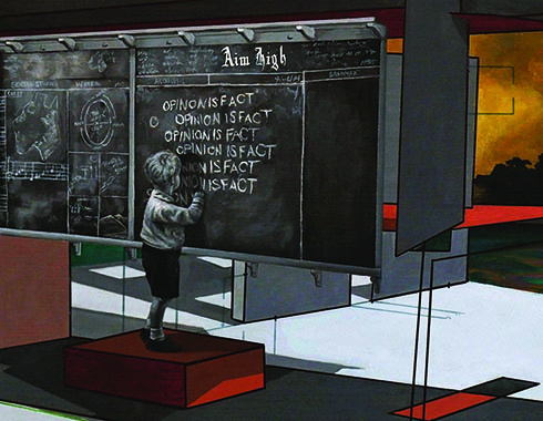 """A young child captured in black and white stands atop a box in front of a school chalkboard, on which he repeatedly writes the phrase: """"opinion is fact."""" A diagram of """"The Water Cycle,"""" as well as words like """"Aim High"""" and """"Sheep"""" litter the well-loved chalkboard, along with other schoolroom writings. The room is composed of dismantled lines and shapes that frame the chalkboard. A cloudy, yellow and orange coloured sky looms in the background."""