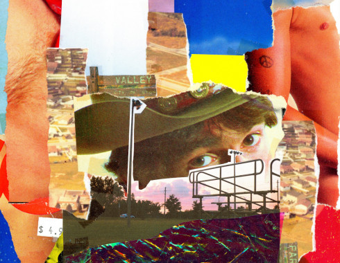 The image featuresa work by Brendan Hendry. Each work is a collage of torn pages from various print media. The collage features ripped pages of male torsos and faces partially obscured by torn photos of skies and landscapes. The center of the collage is the eyes and hat brim of a young person, looking doefully at the camera.